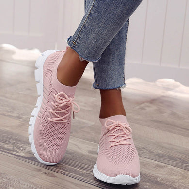 Slip on Sneakers Flyknit Sneakers Shoes For Women Breathable Flat Shoes Soft Casual Women Flats