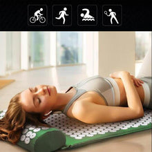 Load image into Gallery viewer, Acupressure Yoga Mat Relieve, Stress Back Body Neck Pain Acupuncture Mat with Pillow Set