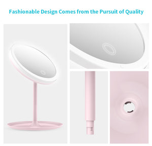 Makeup Mirror With Lights, Rechargeable Adjustable Brightness HD Makeup Mirror LED
