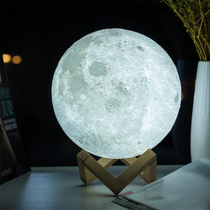 Moon Lamp 3D Print USB LED Night Light Touch Control