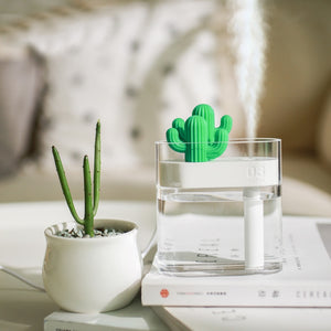 Ultrasonic Air Humidifier Cactus Color Light Essential Oil Diffuser