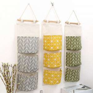 Wall Hanging Storage Pockets Cotton Linen Door Organizer