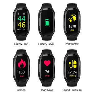 Smart Watch with Wireless Earbuds Fitness Band Heart Rate Blood Pressure Monitor Smart Wristband Fitness Tracker