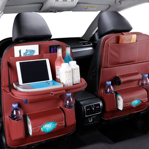 Organizer with Tray for Car Seat, Vehicle Storage Organizer with Table for Car Seat, Travel Holder in Car  Universal Leather
