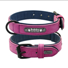 Load image into Gallery viewer, Personalized Soft Leather Dog Collar with Custom Name Tag Adjustable