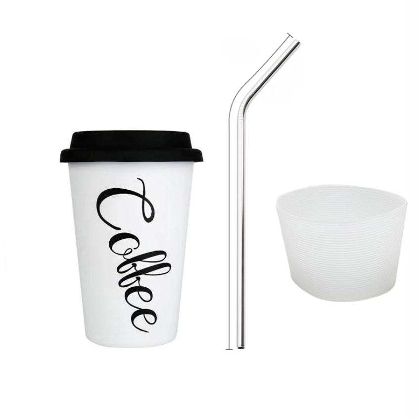 Stainless Steel Travel Coffee Mugs Tea Cups With Cup Sleeve Lid Straw