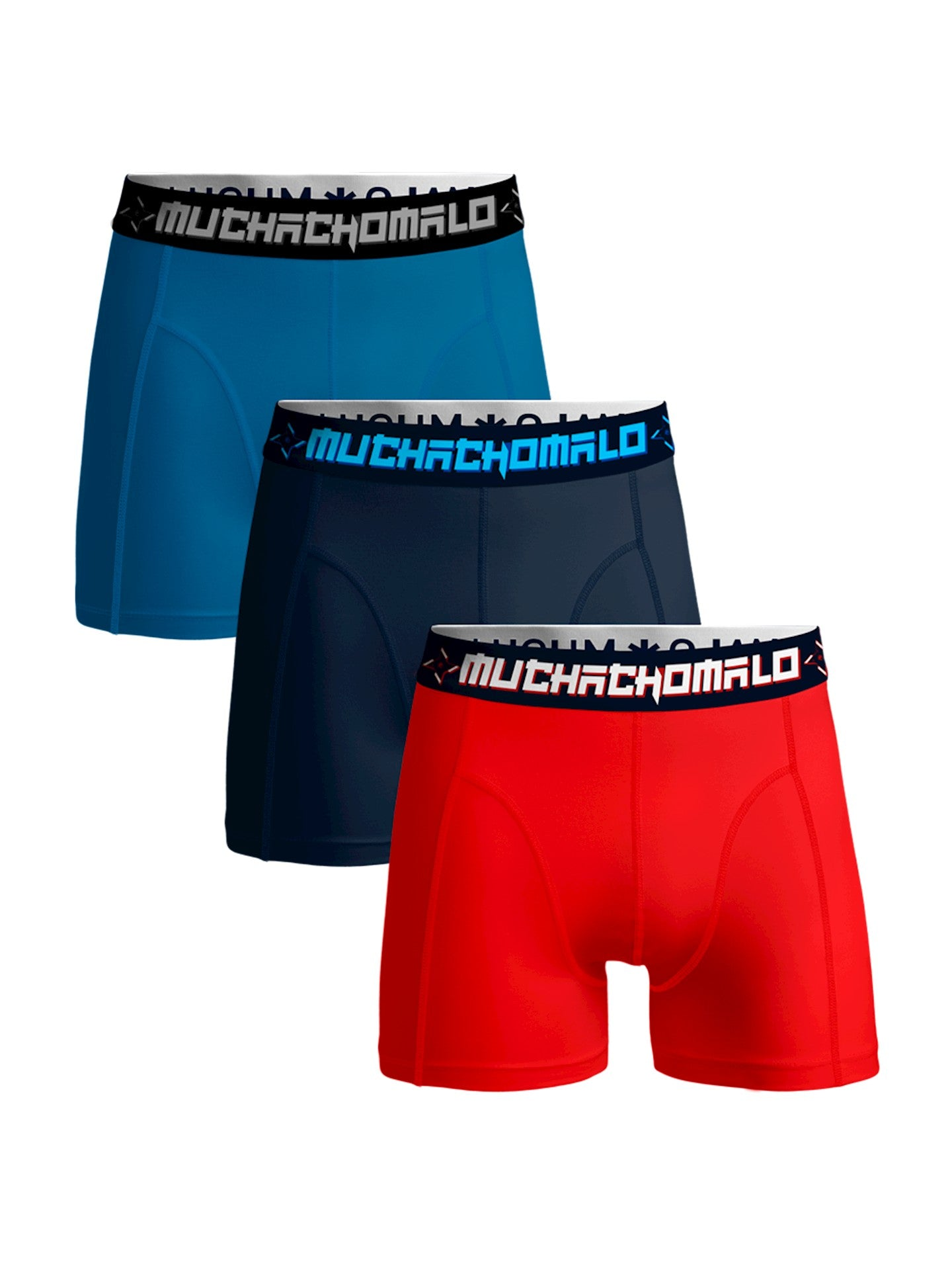 Men 3-Pack Short Solid SOLID1010 - Jambelles Muchachomalo M / 348 Red/Blue/D Blue