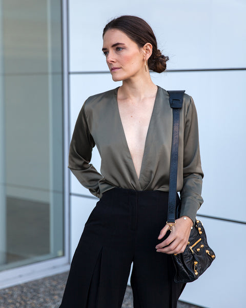 Inspiring Wit fashion blogger Jenelle in Hello Parry olive Dhiva silky wrap top
