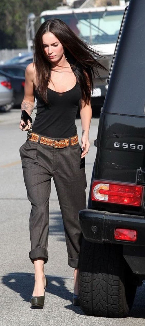 slouch trousers Megan Fox Hello Parry