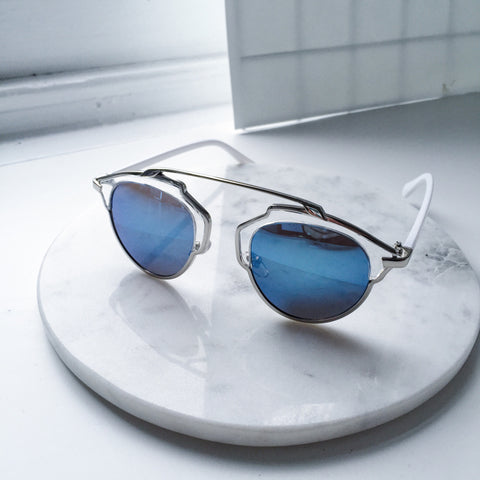 Norway Geometric Aqua Blue Sunglasses