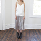Grace Metallic Midi Pleated Skirt-Silver
