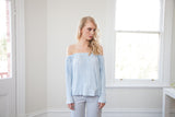 MEGAN PLEATED OFF SHOULDER TOP - Powder Blue