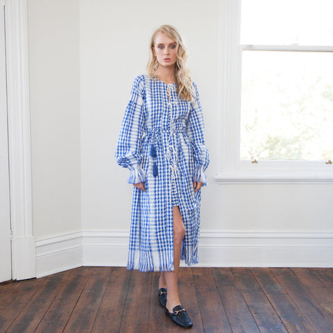 FARAH Woven Maxi Robe/Dress - BLUE KEFFIYEH