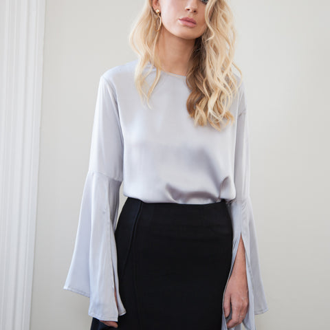 Sonja Bell Sleeve Silky Top -Grey