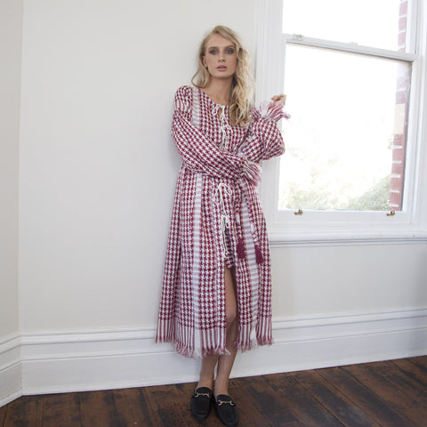 FARAH Woven Maxi Robe/Dress - RED KEFFIYEH