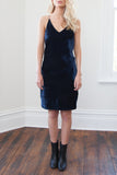 Belle Velvet Slip Dress - Navy