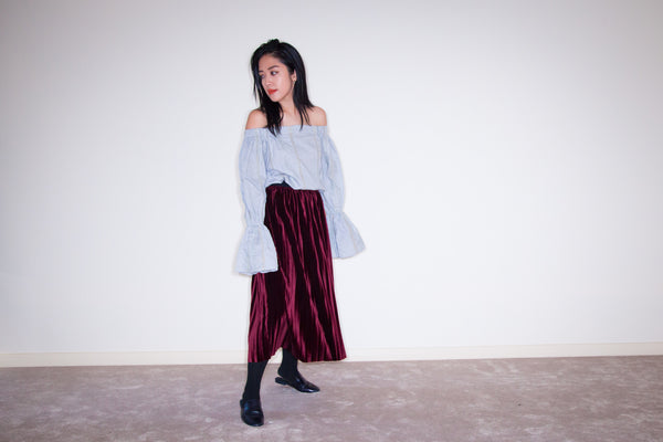 JOEY VELVET PLEATED SKIRT- BURGUNDY