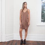 RUMI CROSS BACK SILKY SLIP DRESS-Coffee