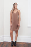 RUMI CROSS BACK SILKY DRESS-Coffee