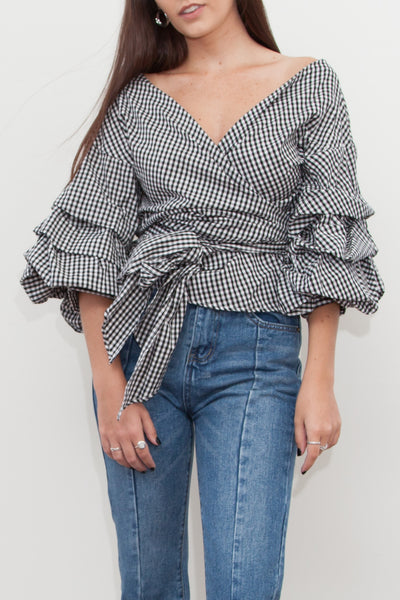 Anoushka Gingham Wrap Shirt