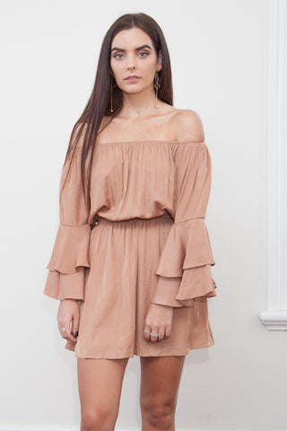 Steph Off Shoulder Dress-Coral