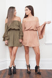 Steph Off Shoulder Dress-Khaki