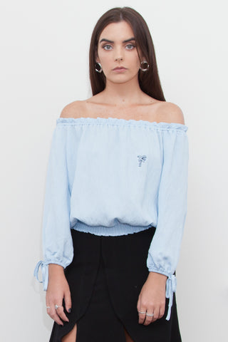 Cali Palm Tree Off Shoulder Top