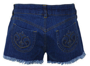 Tassels Style blue Denim Shorts - HELLO PARRY Australian Fashion Label