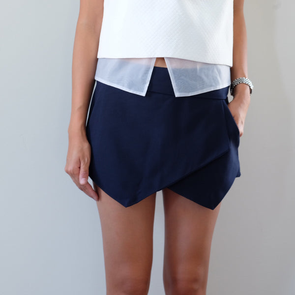 Minute Tailored Wrap Skort -Navy - HELLO PARRY Australian Fashion Label