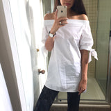 Novelia Tie Sleeve Off-Shoulder Shirt - White