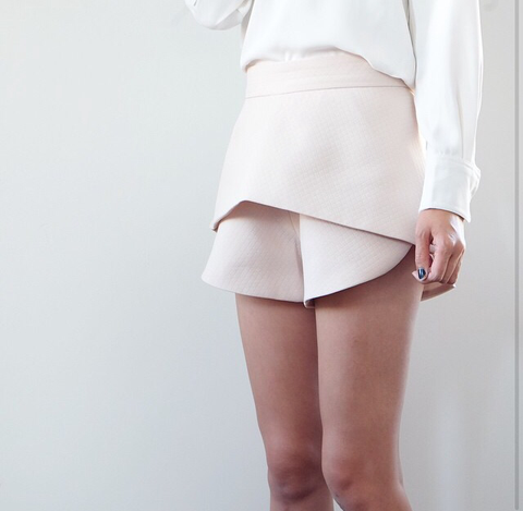 Marianne Beige Curved Skort - HELLO PARRY Australian Fashion Label
