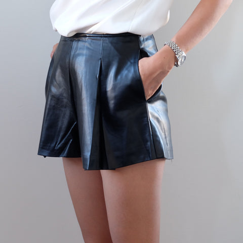 Eliza Black Pleat Leather Short - HELLO PARRY Australian Fashion Label