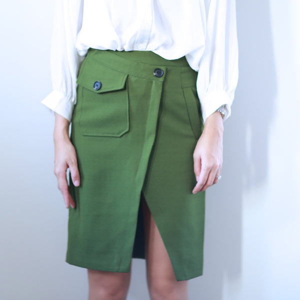 Jane Khaki Green Midi Skirt - HELLO PARRY Australian Fashion Label