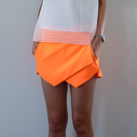 Minute Tailored Wrap Skort -Fluor Tangerine - HELLO PARRY Australian Fashion Label
