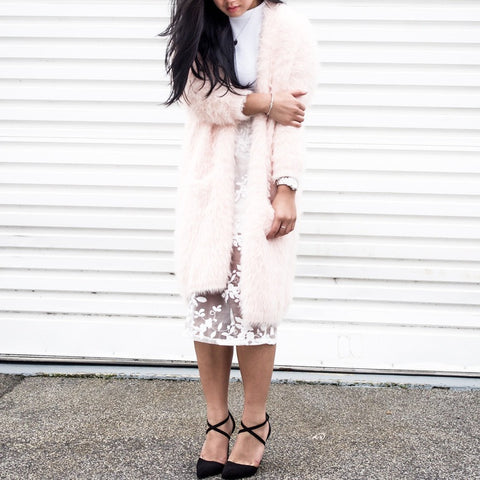 Adira Blush Textured Furry Coatigan - HELLO PARRY Australian Fashion Label