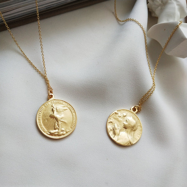 Prayer Gold Coin Necklace