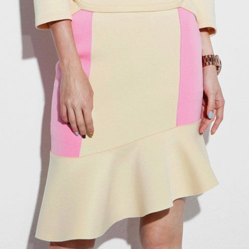 Anita Neoprene Flare Skirt -Yellow - HELLO PARRY Australian Fashion Label