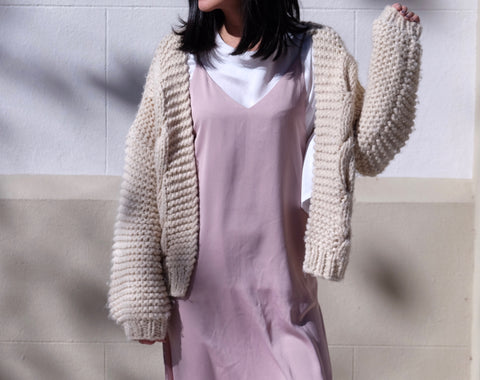 Annie Hand knitted Cable Wool Blend Cardigan