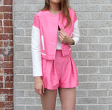Brooklyn Pleated Pink Shorts - HELLO PARRY Australian Fashion Label