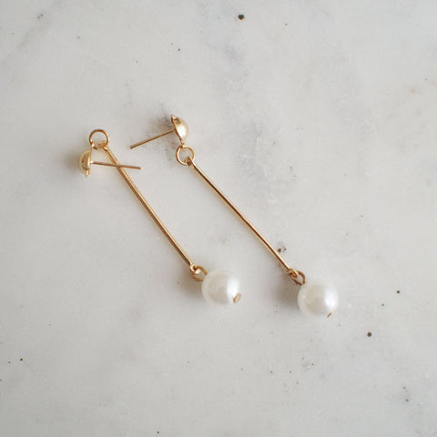 Coco Pearl Gold Bar Earrings - HELLO PARRY Australian Fashion Label