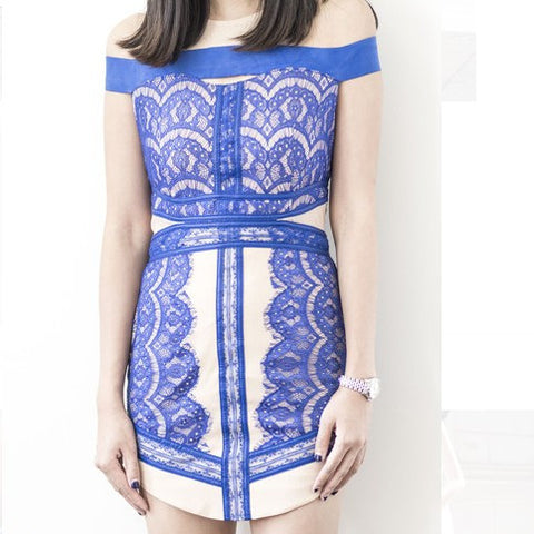 Celeste Lace Detail Dress - Electric Blue - HELLO PARRY Australian Fashion Label