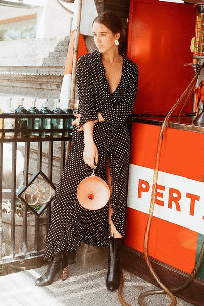 DOLCE POLKA DOT MAXI DRESS-BLACK