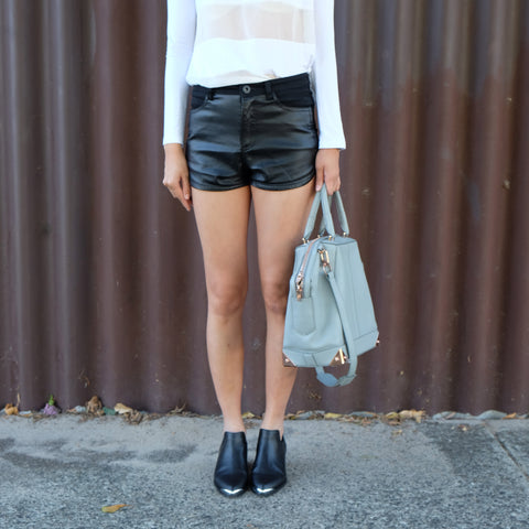 Gail High Cut Leather Shorts - HELLO PARRY Australian Fashion Label