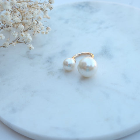 Kara Asymmetric Double Pearl Ring - HELLO PARRY Australian Fashion Label