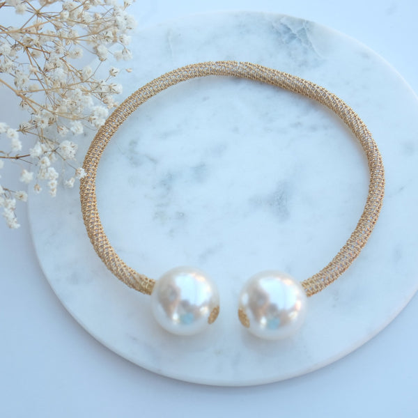 Kym Gold Mesh Pearl Bracelet Necklace - HELLO PARRY Australian Fashion Label