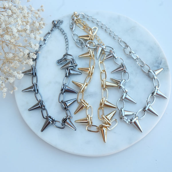 Gold Plated Spike Necklace - HELLO PARRY Australian Fashion Label