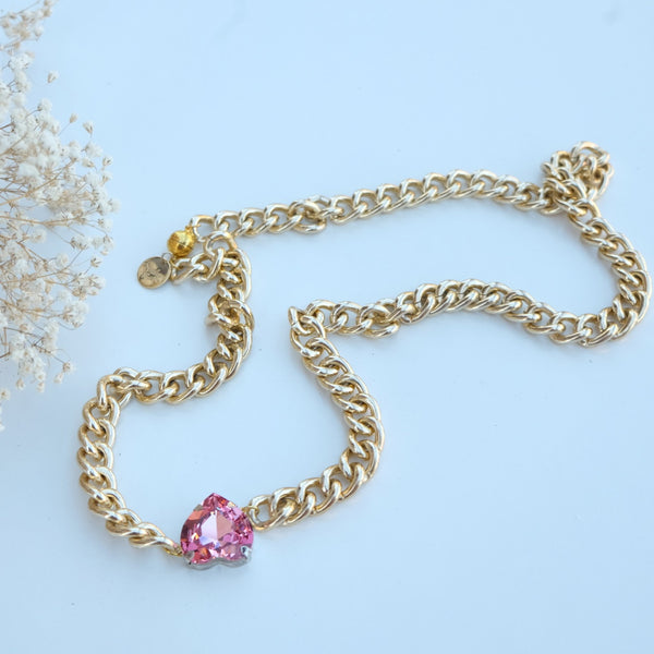 Devi Gold Chain Swarovski Gem Necklace - HELLO PARRY Australian Fashion Label