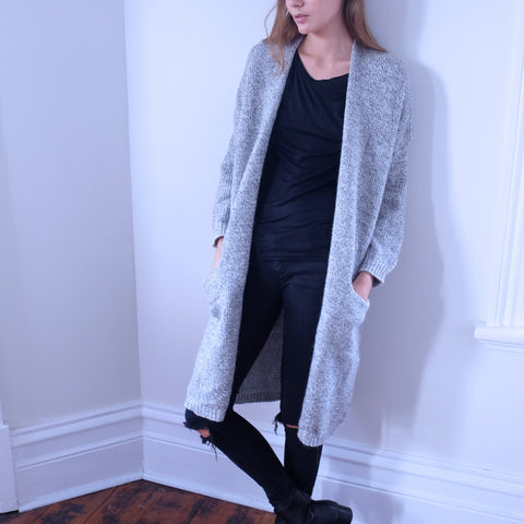Elle Tweed Print Light Grey Coatigan - HELLO PARRY Australian Fashion Label