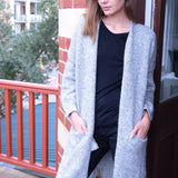 Elle Tweed Print Light Grey Coatigan