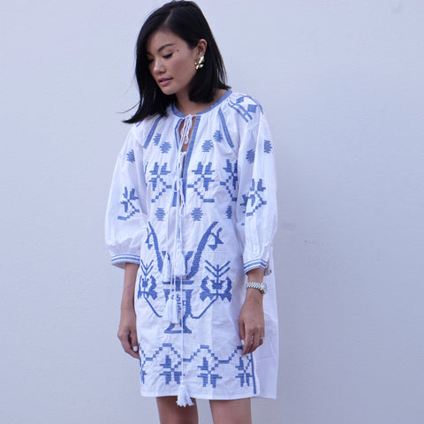 CORINNA EMBROIDERED DRESS -BLUE